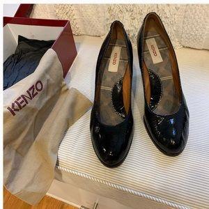 Kenzo black crinkle leather pump